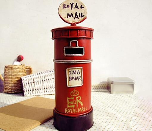 New Cool Matel Post Office box Shape H25cm Saving Pot Money Box Piggy Bank Coin Bank