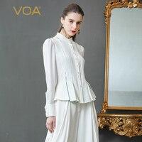 VOA белый тяжелый шелковая блузка офисная Рубашка слим Для женщин топы Краткое Основной рюшами с длинным рукавом Весна принт Формальное плюс