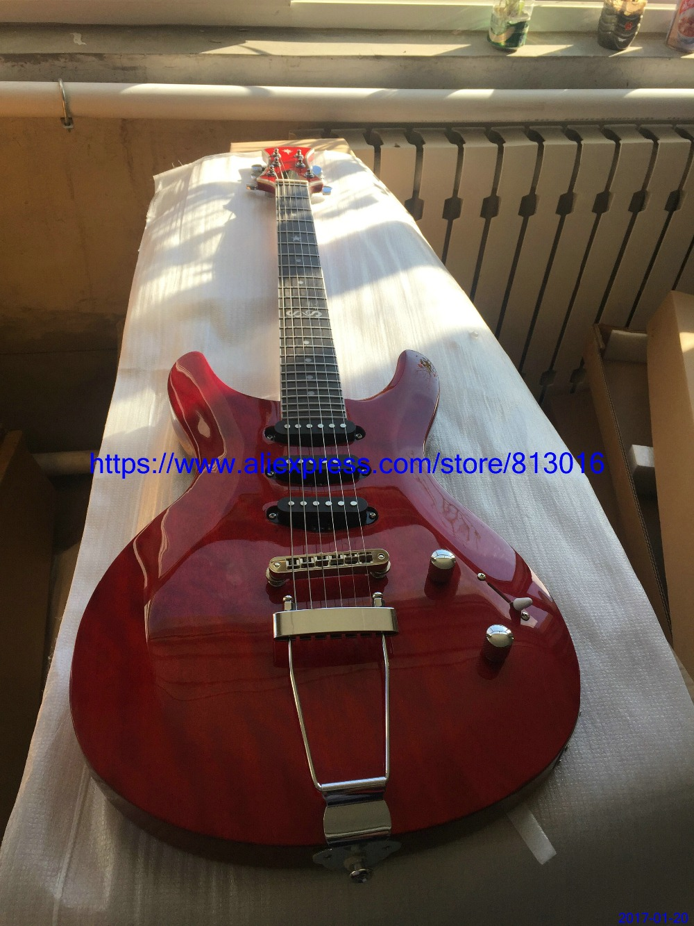 New Arrival Hot selling electric guitar,red see thru,customised fingerboard inlay and headstock shape.chrome parts,free Shipping купить