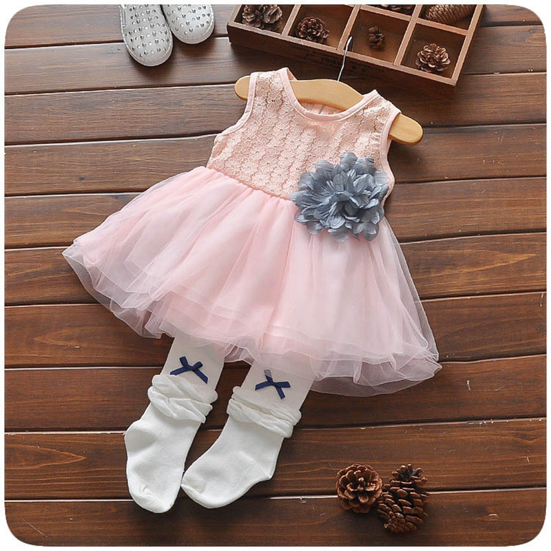 2017 Summer Infant Baby Flower Lace Pathcwork Mesh Ball Gown Princess Party Girls Dress Sleeveless Kids