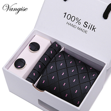Men`s Tie 100% Silk Pink Plaid print Jacquard Woven Tie+ Hanky + Cufflinks Sets For Formal Wedding Business Party Free Postage
