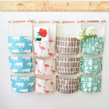 Cotton linen wardrobe clothing storage bag 3 pockets Wall mounted Decor Cosmetic hanging organizers Toys pouch armario
