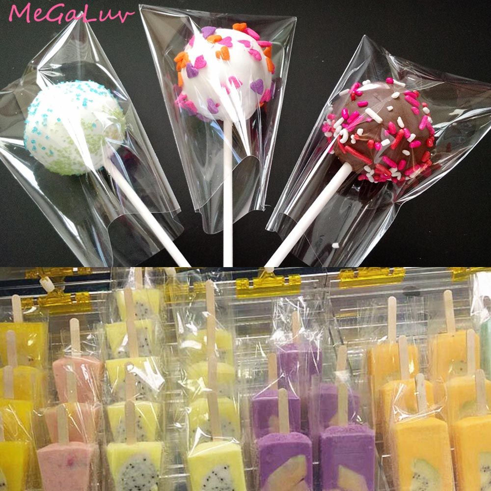 100pcs Birthday Party Clear Cellophane Packing Bag Candy Bags Boxes Popcorn Bakery Cookie Gift Basket Supplies Wedding Decors