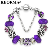 KEORMA European Ribbon Charm Bracelet for Women Luxury  Crystal Beads Brand Bracelets & Bangles Plusera Wholesale Dropshipping