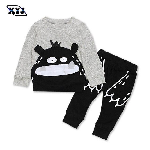 1449d4ff3 2019 otoño conjunto de ropa para bebés trajes recién nacido chándal para  los bebés camiseta gris