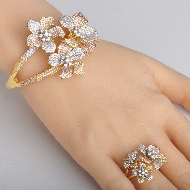 Dazz Luxury Three Tones Color Flowers Wide Bangle Ring Sets For Women Engagement Hollow Out Cubic