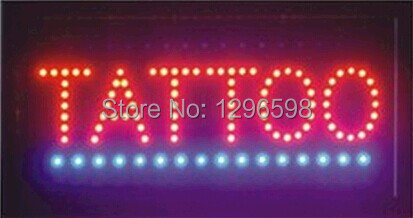 2017 Direct Selling 10X19 inch indoor Ultra Bright flashing customed tattoo store sign of led-
