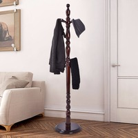 Giantex 2 Tier Wood Hat Coat Rack Hanger Tree Stand Hallway Entry Home Furni W/ 8 Hooks Home Furniture HW54007