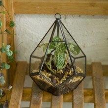 Artistic Hanging Clear Glass Five-surfaces Diamond Succulent Fern Planter Geometric Terrarium Flower Pot DIY Flowerpot with Loop
