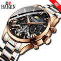HAIQIN de lujo mecánico automático reloj de los hombres de negocios clásicos reloj Tourbillon hombre impermeable reloj de pulsera reloj Masculino