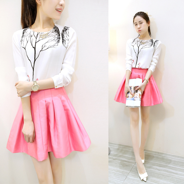 bed96b3aaee 2016 Spring Women Clothing Set Korean Fashion Swan Tree Printed White Shirt  Pleated Pink Skirt 2