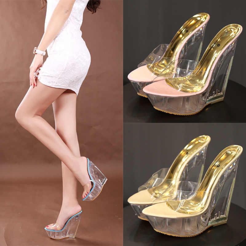 8c421c7757 Women Summer Slippers 2019 New Arrival Transparent Platform Wedges Sandals  Women High Heels 14.5CM Shoes