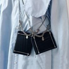 Zipper Chain Unisex PU Leather Small Messenger Bag