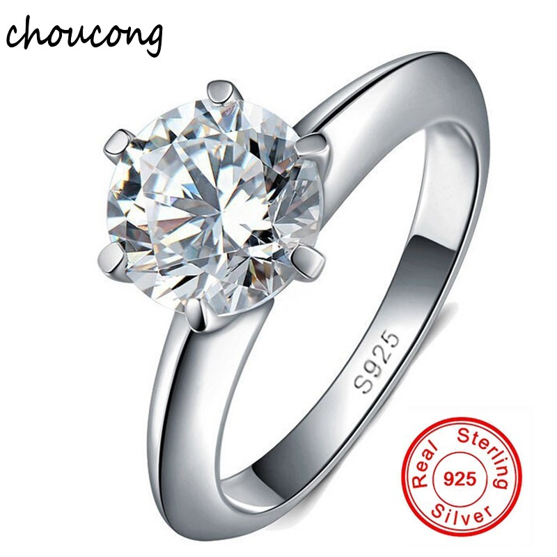 0f65b4f10fd8 100% real sólido 925 Anillos set 1.5 quilates Sona CZ Diamant boda de plata  Anillos para las mujeres plata Joyería fina