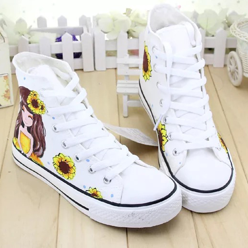 400342df0c8c spring DIY girls shoes hand painted children sneakers Sunflower kids spring  customized flats fashion high top shoes