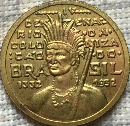 1532-1932 Бразилия 100 Reis Монеты Скопируйте Бесплатная доставка