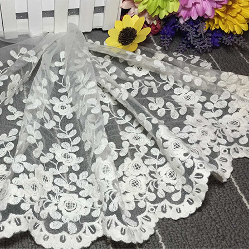 New White Embroidered Lace Edge Trim Fabric Craft Cloth for Doll Wedding Dress Decoration Clothing Accessories