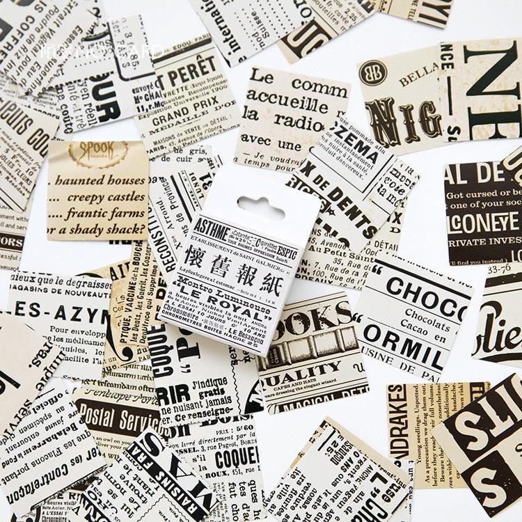 Nostalgische Zeitung Boxed Klebstoff Aufkleber Vintage Brief DIY Scrapbooking Papier Tagebuch Planer Schule Schreibwaren Supplie @ TZ-26
