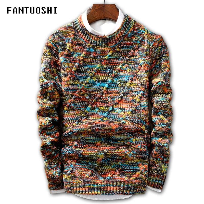 Sweater Men Pullover Knitting Stripe Fashion Slim-Fit O-Neck Brand Size-5xl