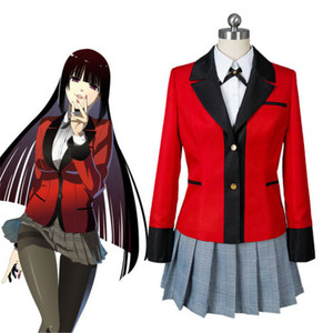 Disfraz de Cosplay de Anime Kakegurui Yumeko Jabami, uniforme escolar niña japonesa, conjunto completo de chaqueta + Camisa + falda + medias + corbata S M L XL