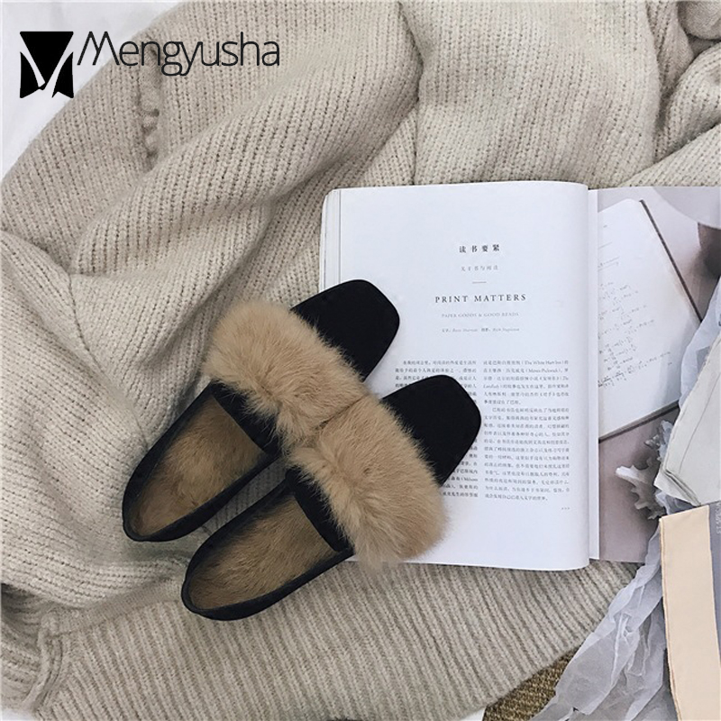 7ea8f83ac0f Winter Fur Flats Women Feather Moccasins Real Rabbit Hair Shoes Woman  Espadrilles Velvet Creepers Square Toe Ladies Shoes Loafer