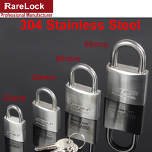 Rarelock 30,40,50,60mm 304 Stainless Steel Padlock with 2 Keys for Drawer Door Cabinet Lock DIY Furniture Hardware
