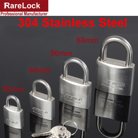 Rarelock 30 40 50 60mm 304 Stainless Steel Padlock With 2 Keys For Drawer Door Cabinet