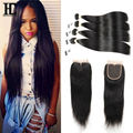 Mink Brazilian Hair With Closure Straight 8A Brazilian Virgin Hair With Closure Brazilian Straight Human Hair Weave With Closure