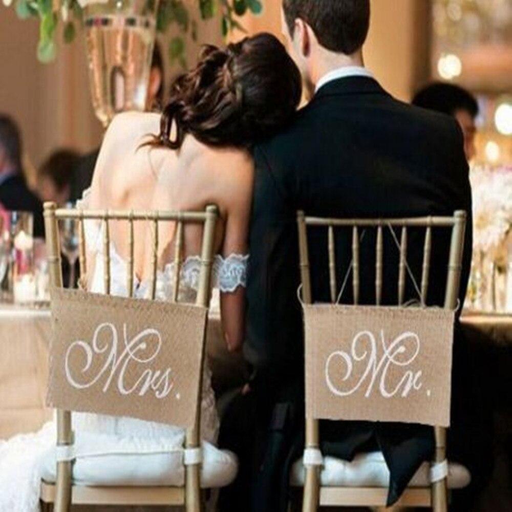 2 шт. Сельский свадебные баннеры знаки хаки Mr. & Mrs. поместив стул баннер набор стул знак гирлянды деревенский Свадебная вечеринка украшения, q