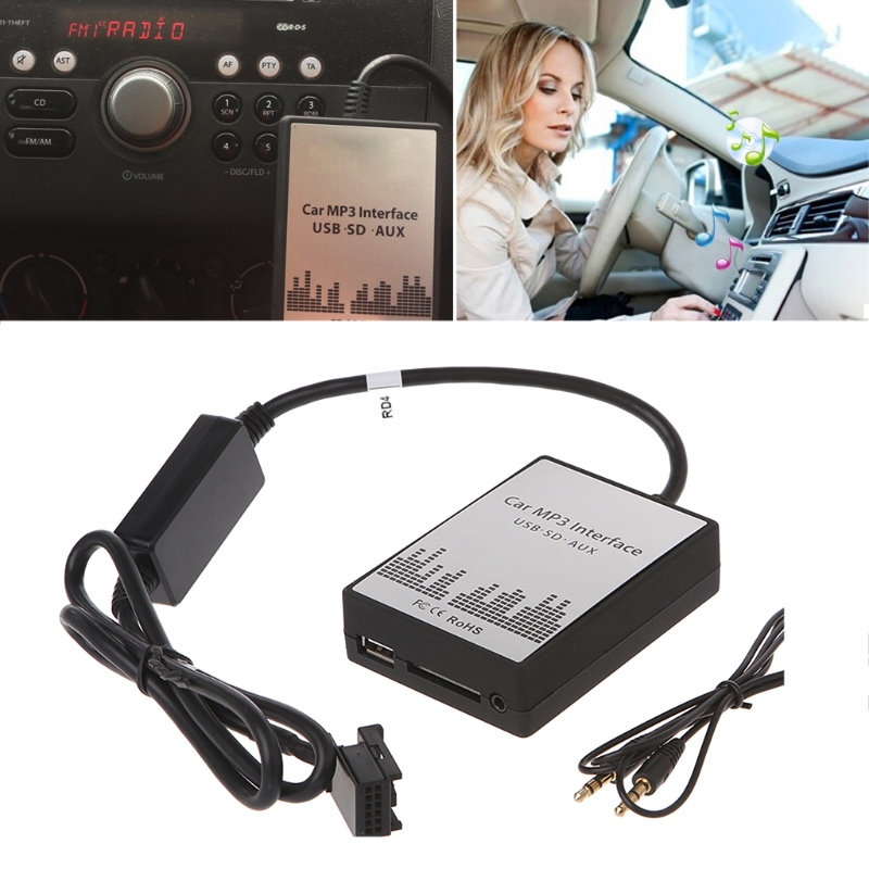 OOTDTY USB SD AUX Car MP3 Music CD Changer Audio Adapte For Peugeot 307 407 Citroen C4 C5 RD4 12PIN Interface CD Quality