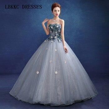 6b152eb62 Vestido de quinceañera gris y azul sin mangas de tul con vestido de bola de  encaje