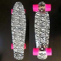Zebra Graphic Printed Plastic Mini Cruiser Skateboard 22 X 6 Retro Longboard Skate Long Board Complete