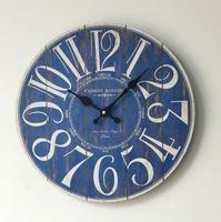Creative GIFT Antique Styles Blue Wall Clock 35mm Round Wood Decorative Digital Clock For Home Deco