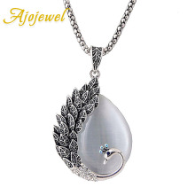 Ajojewel Womans Vintage Long Chain Necklaces Rhinestone Peacock Opal Pendant Necklace Antique Jewelry Wholesale