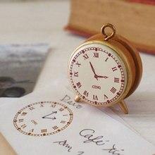 Vintage reloj despertador de madera sellos para álbum de recortes papelería DIY álbum Collage piezas madera sello