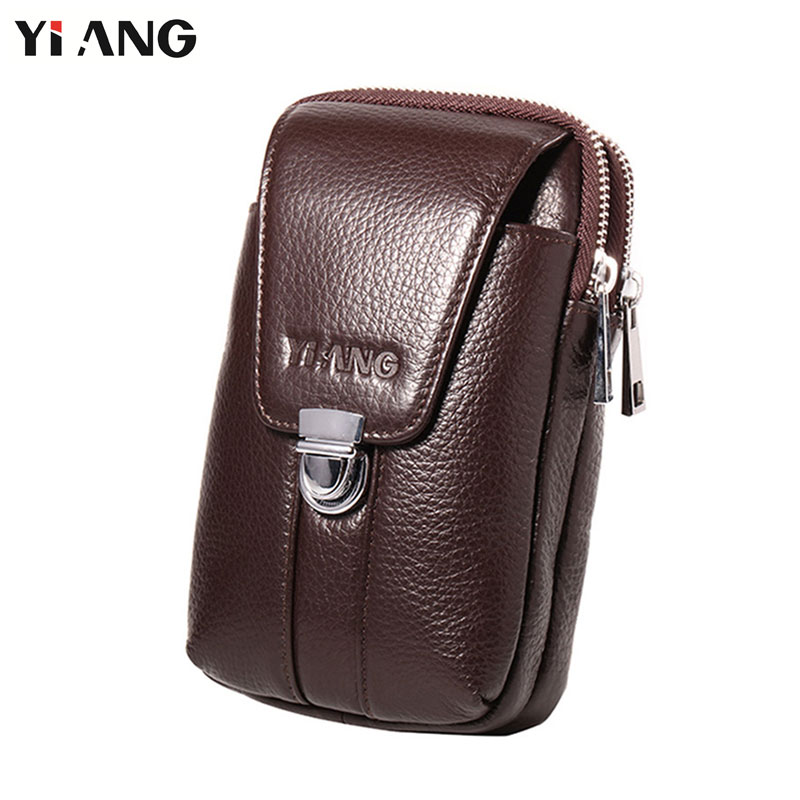 YIANG Waist Packs Men Belt Pouch Bags Phone Pocket Cigarette Purse Fanny Pack Waist Bag Real Leather Money Bag Vertical 2 Sizes