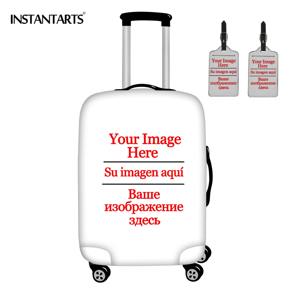 INSTANTARTS Customize Your Picture/Image/Logo Luggage Protection Cover Apply To 18-30 Inch Travel 3Pcs Dust Baggage Elastic Case