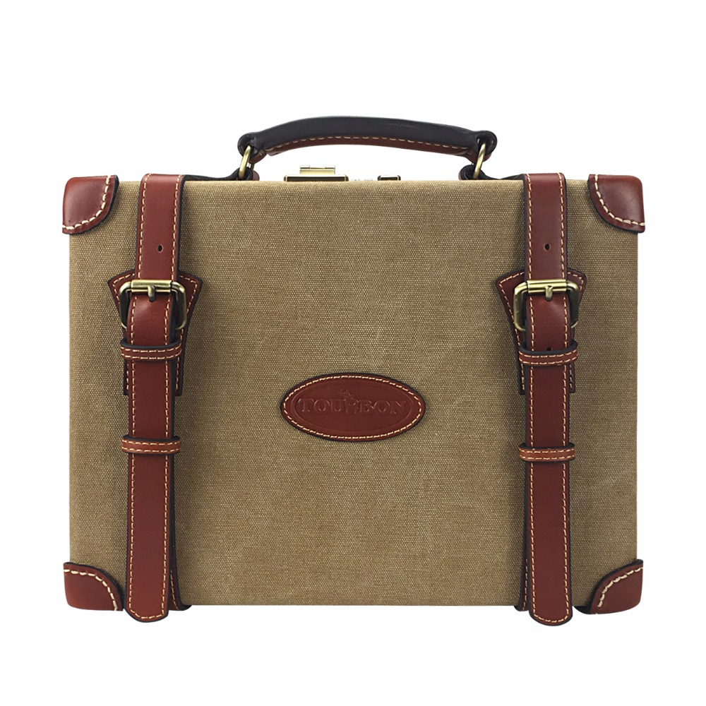 Tourbon Hunting Gun Accessories Ammo Storage Case Vintage Canvas Leather 200 Shotgun Cartridge Ammunition Shells Box Carrier