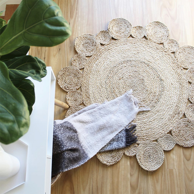 Jute Carpet Geometric Bohemia Indian Rug Floral Pastoral Modern Round Bedside Mat Morocco French Chic Design Iran Nordic Style
