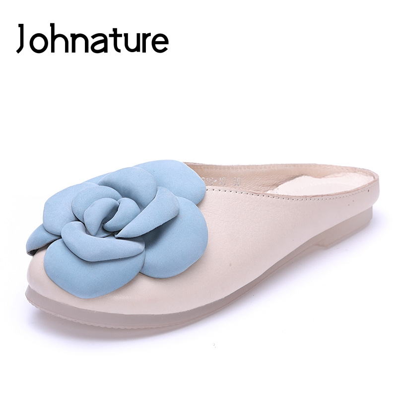 Johnature 2019 Summer New Lady Sandals Genuine Leather Round Toe Outside Flower Flat With Slippers Women