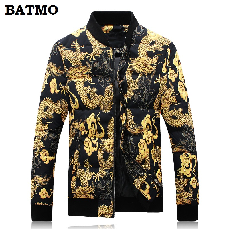 BATMO 2018 new winter Chinese style men's Baseball collar Dragon printed   down   jacket parkas,95% white duck   down     coats   men.