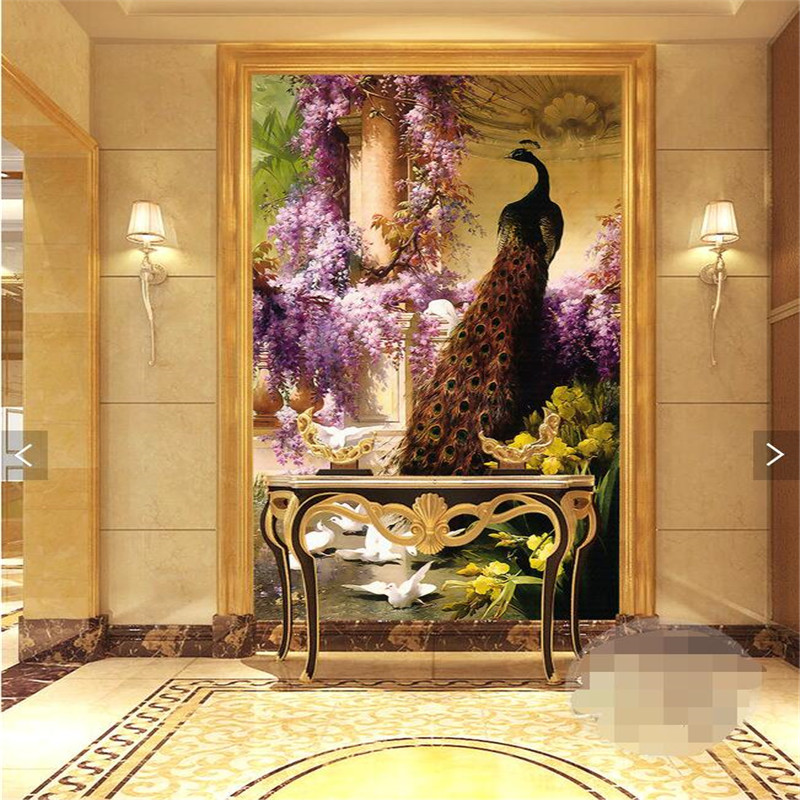 3d Wallpaper For Interior Decoration Wall Paper 3d Art Mural Hd Continental Classic Peacock
