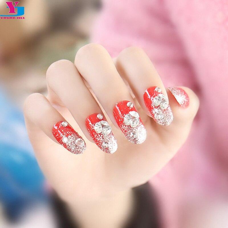 Online Shop 3 Set Beauty Fake Nails Glitter Sexy Red Strass Unha ...