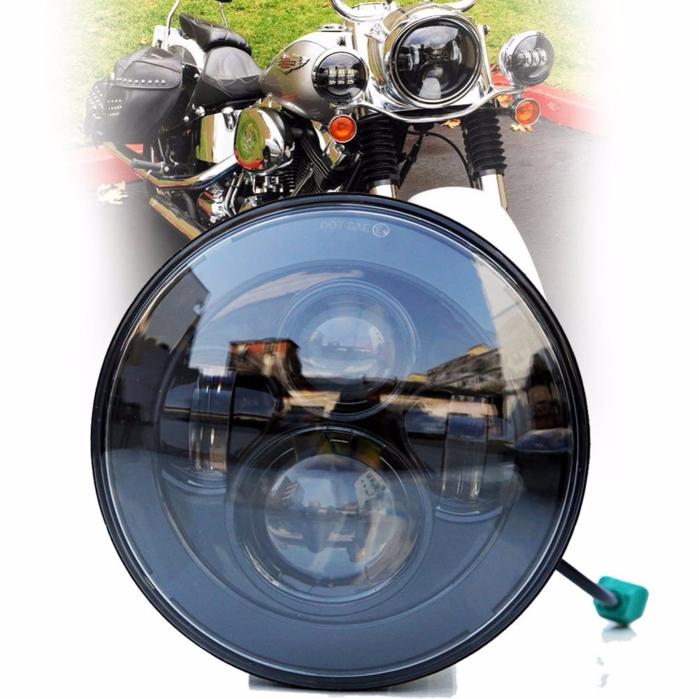New 7 Inch Motorcycle Projector Daymaker Hi/Lo LED Light Bulb Headlight For Harley ...