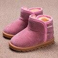 2016 de Invierno de los Bebés Botas de Nieve de La Muchacha Childre Deslizan en Botas de Bebé Botas de Piel de Felpa Caliente Zapatos Forro Térmico