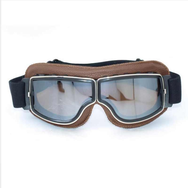 2016 NEW Hot Aviator Pilot Cruiser Cycling Bicycle Motorcycle Goggles Glasses Eyewear Brown Genuine Leather Frame Silver lens