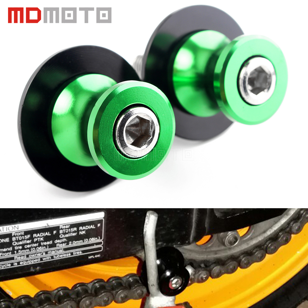 Green 2 Pieces 8MM Motorcycle CNC Swingarm Spools Stand Screws Sliders for Kawasaki Z650 Z800 Z900 Z1000