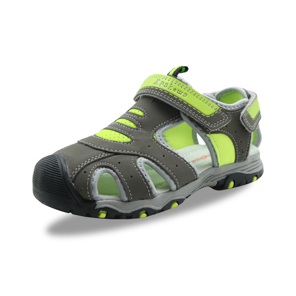 Image 4 - Apakowa Little Boys Closed Toe Summer Sports Gladiator Sandals Kids Quick Drying Hook and Loop Pool Beach Walking Shoes for BoysSandals   -