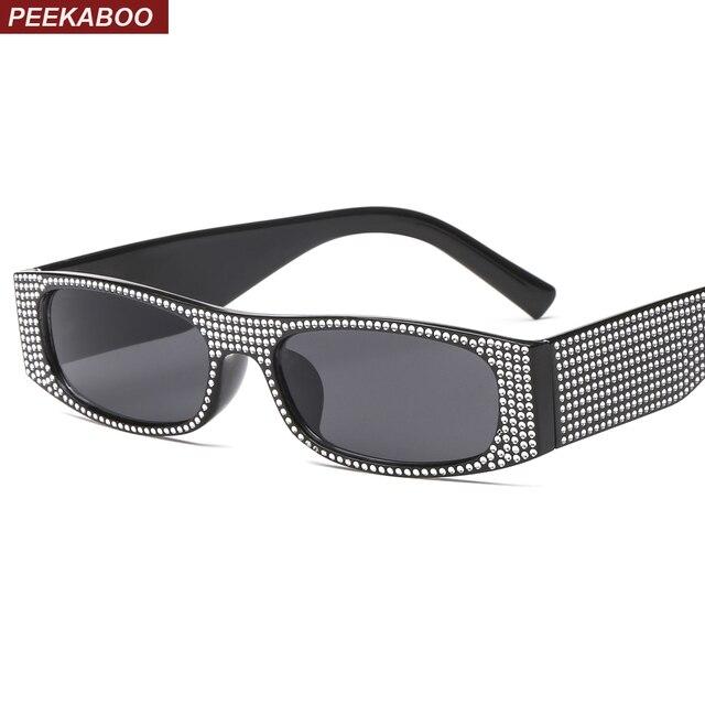 9582253cdd Peekaboo rectangle sunglasses women shades retro classic 2019 black red  pink rhinestone sun glasses female party summer beach