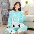 Зима женщины фланель с длинными рукавами теплые пижамы устанавливает дамы мультфильм норки бархат пижамы домашняя одежда улыбаясь robbit наборы S2890